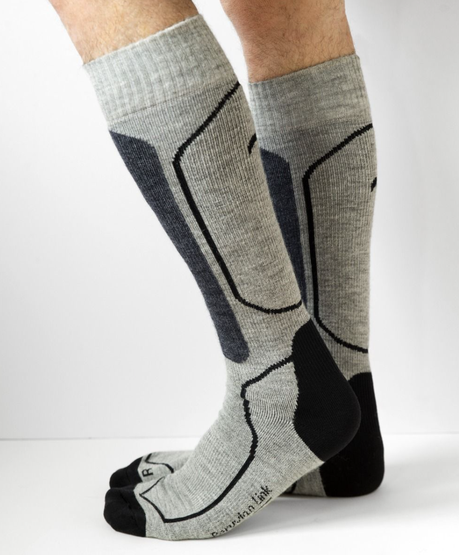 Peruvian Link Skier Alpaca Socks Silver/Denim S/M