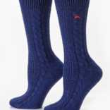 Peruvian Link Cable Dress Alpaca Socks Navy L/XL