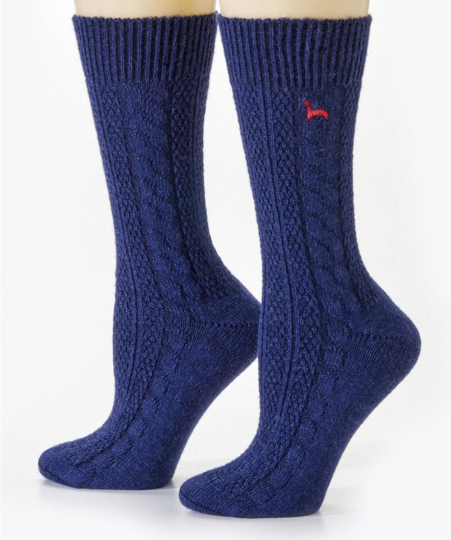 Peruvian Link Cable Dress Alpaca Socks Navy L/XL
