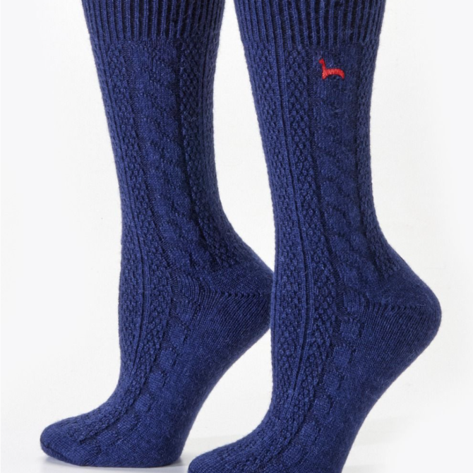 Peruvian Link Cable Dress Alpaca Socks Navy S/M