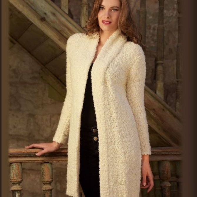 Peruvian Link Boucle Alpaca Lounger Coat Ivory
