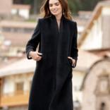 Peruvian Link Princess Long Alpaca Coat Black Small