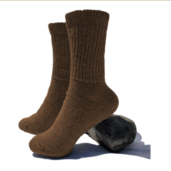 Peruvian Link Thera Alpaca Copper Socks Tobacco S