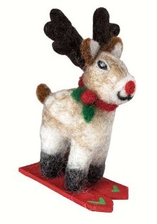 dZi Handmade Skiing Rudolph Jr. Ornament