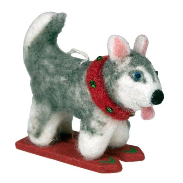 dZi Handmade Skiing Husky Ornament