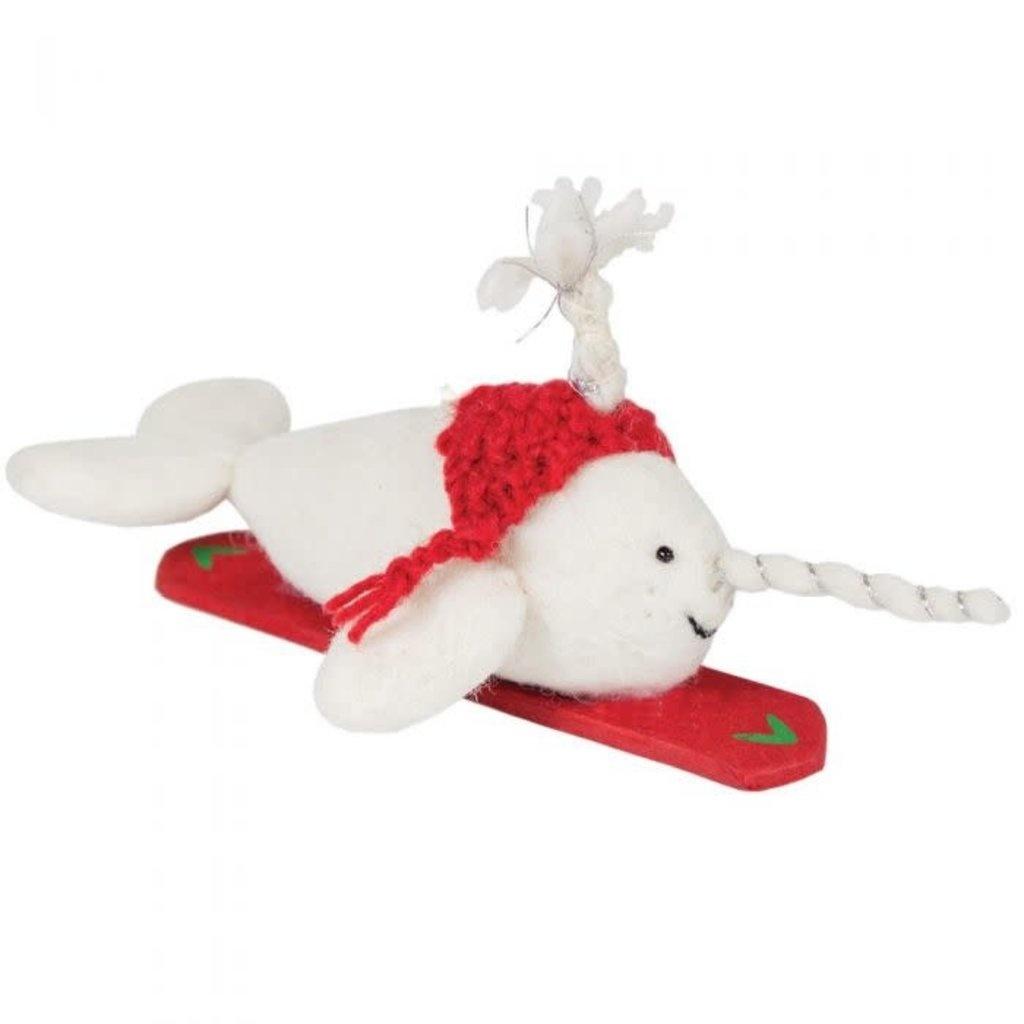 dZi Handmade Snowboarding Seal Ornament