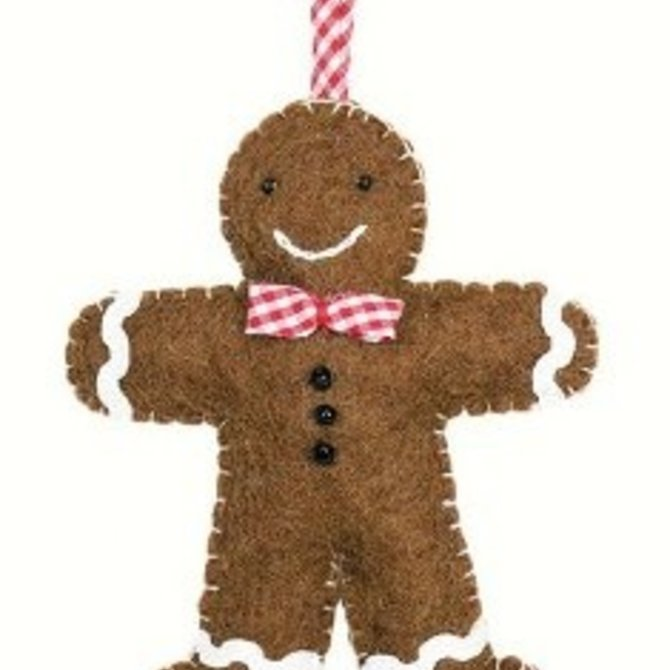 dZi Handmade Gingham Gingerbread Brown Ornament