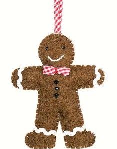 dZi Handmade Gingham Gingerbread Brown Ornament