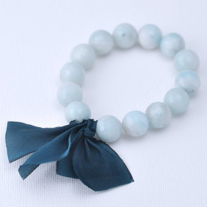 Kui Co. Chunky Stone Bracelet - 12mm Milky Seafoam Agate (Faceted)
