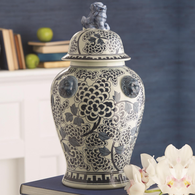 Two's Company Blue & White Peony Flower Temple Jar