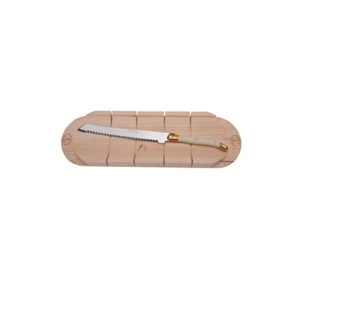Laguiole Bread Knife w/ Baguette Board