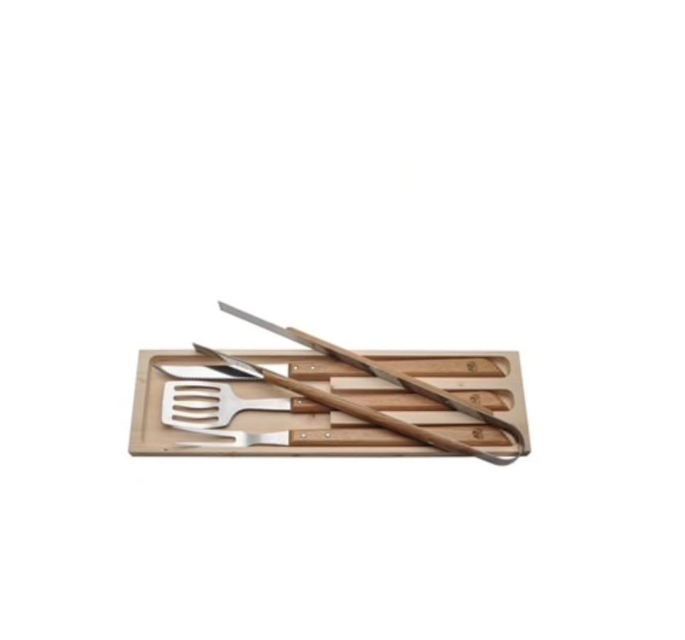 Laguiole 4 pc BBQ Set - Oak