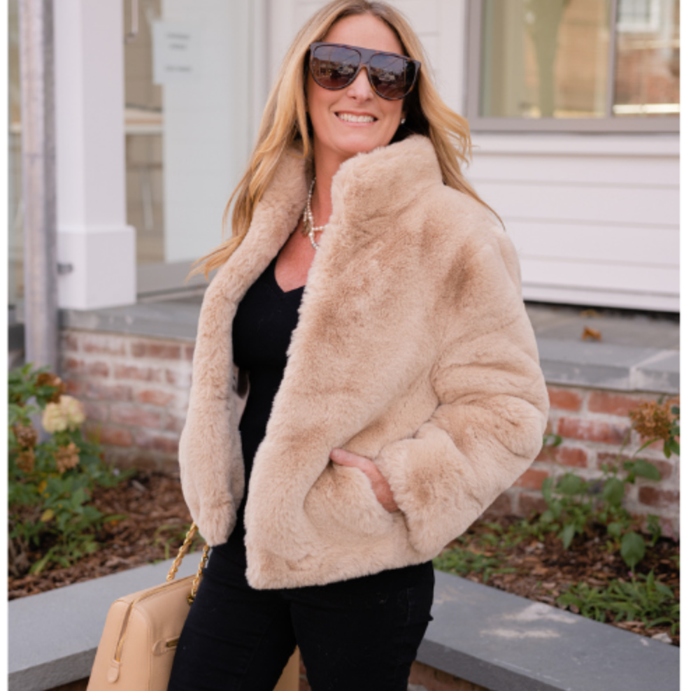 Pretty Rugged Camel Faux Fur Reversible Bomber