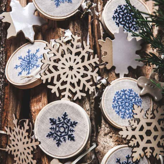 Farmhouse Pottery Nordic Embroidered Ornament Dusk