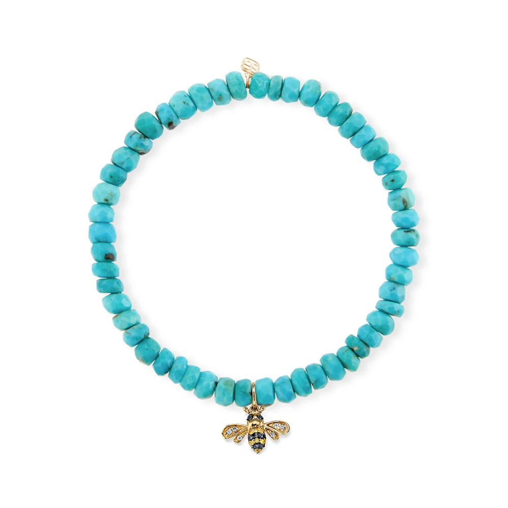 Sydney Evan Small Bee with Amazonite Faceted Rondelle