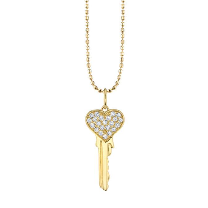 Sydney Evan Pave Heart Key Charm Rose Quartz Faceted Rondelle