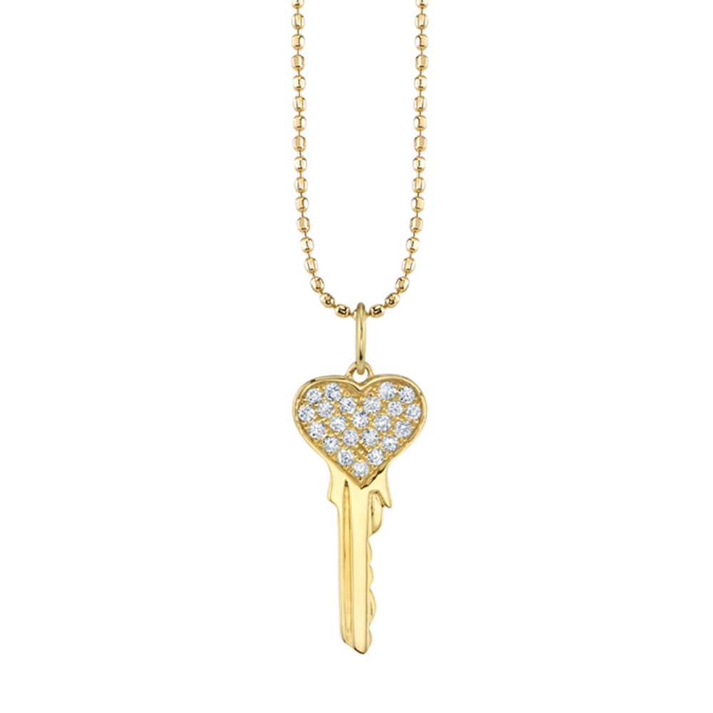 Sydney Evan Pave Heart Key Charm Rose Quartz Faceted Rondelle