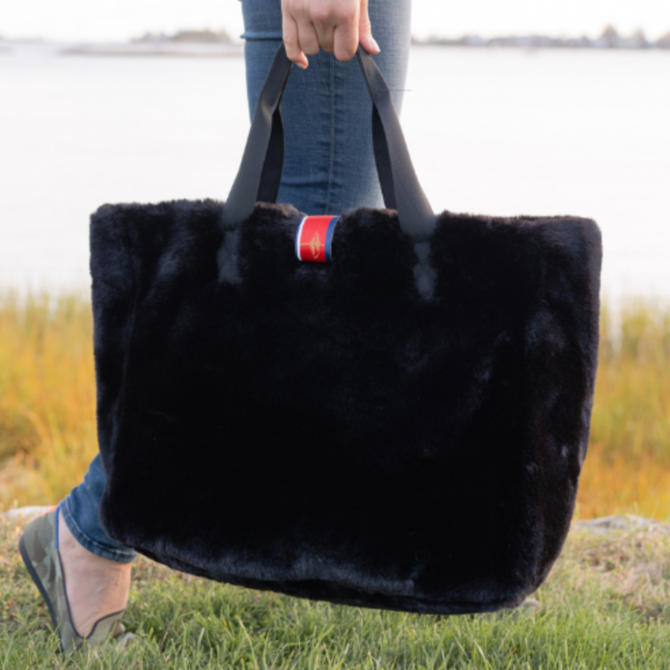 Pretty Rugged Black Faux Fur Oversized Tote
