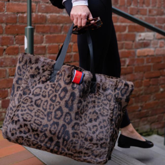 Pretty Rugged Grey Leopard Faux Fur Oversized Tote