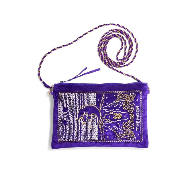 Two's Company Tarot Embroidered Bag w/ Strap Purple