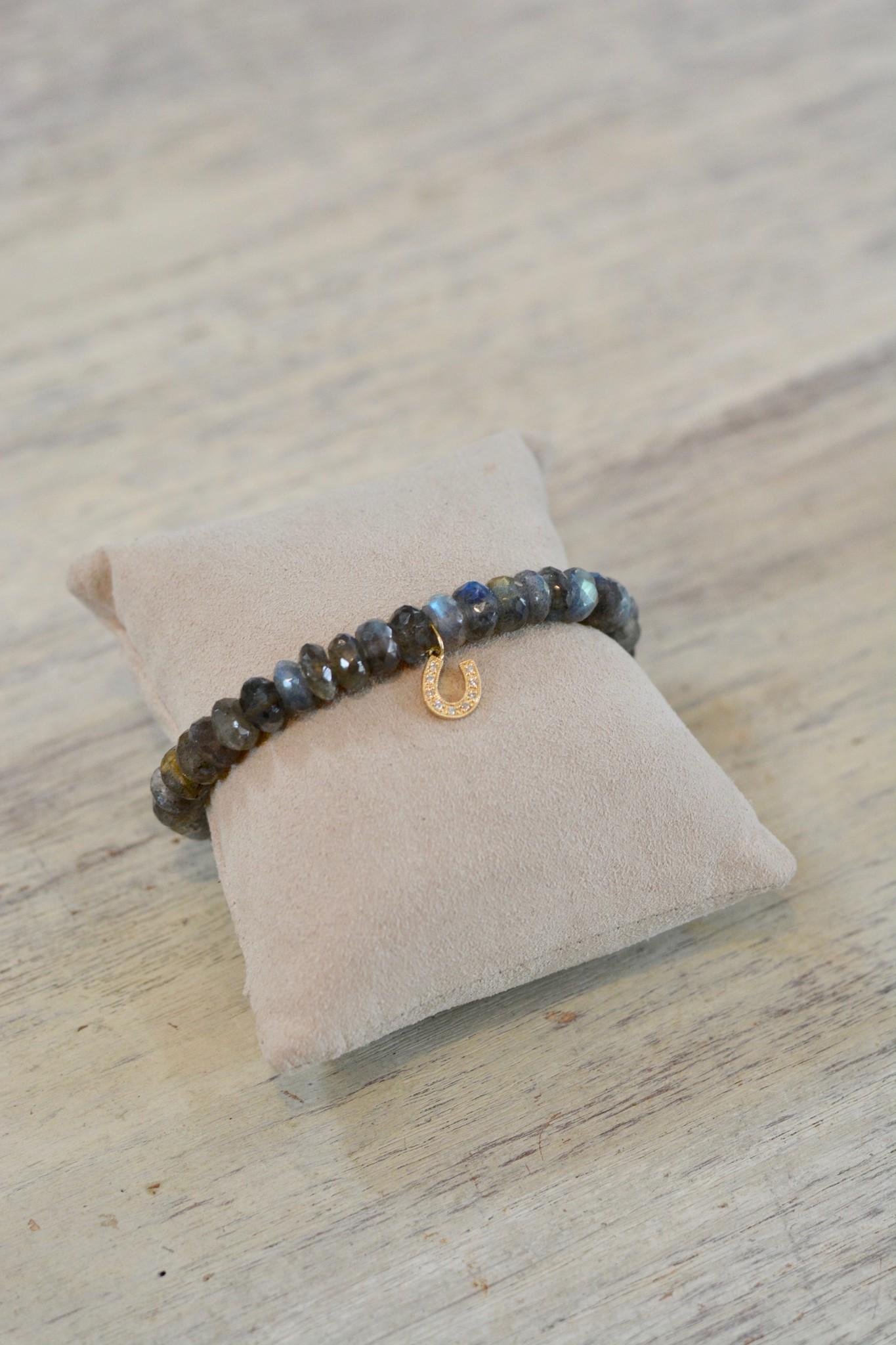 Sydney Evan Horseshoe with Jump Ring Labradite Bracelet