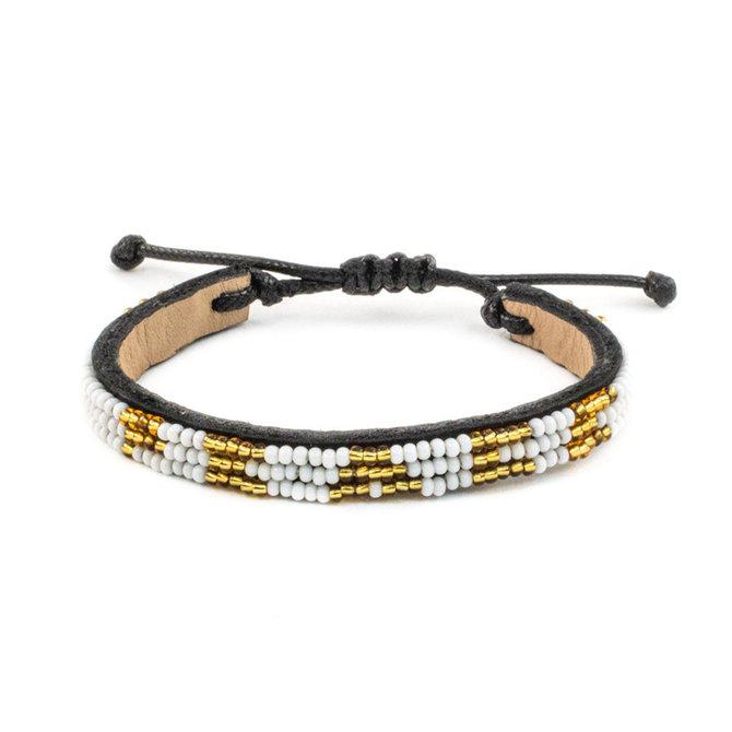 Love Project Skinny PEACE Bracelet - White/ Gold