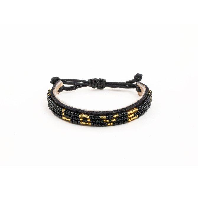 Love Project Skinny LOVE Bracelet - Black/Gold: Regular