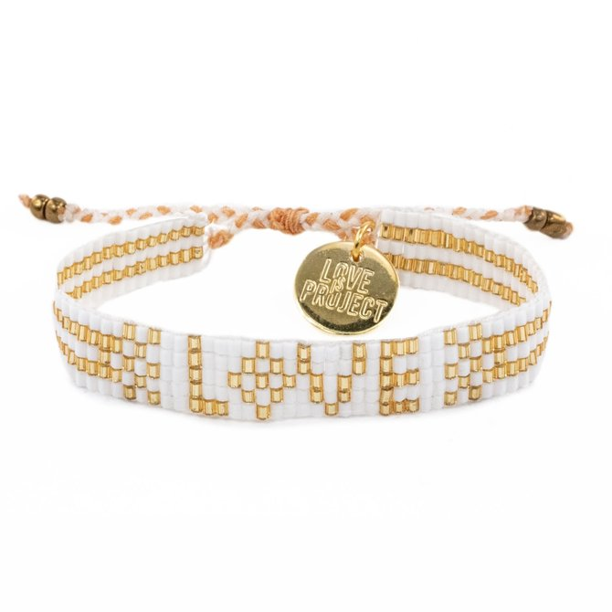 Love Project Seed Bead LOVE Bracelet - White & Gold