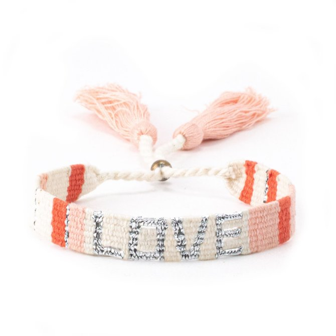 Love Project Atitlan Love Bracelet - White, Peach & Orange
