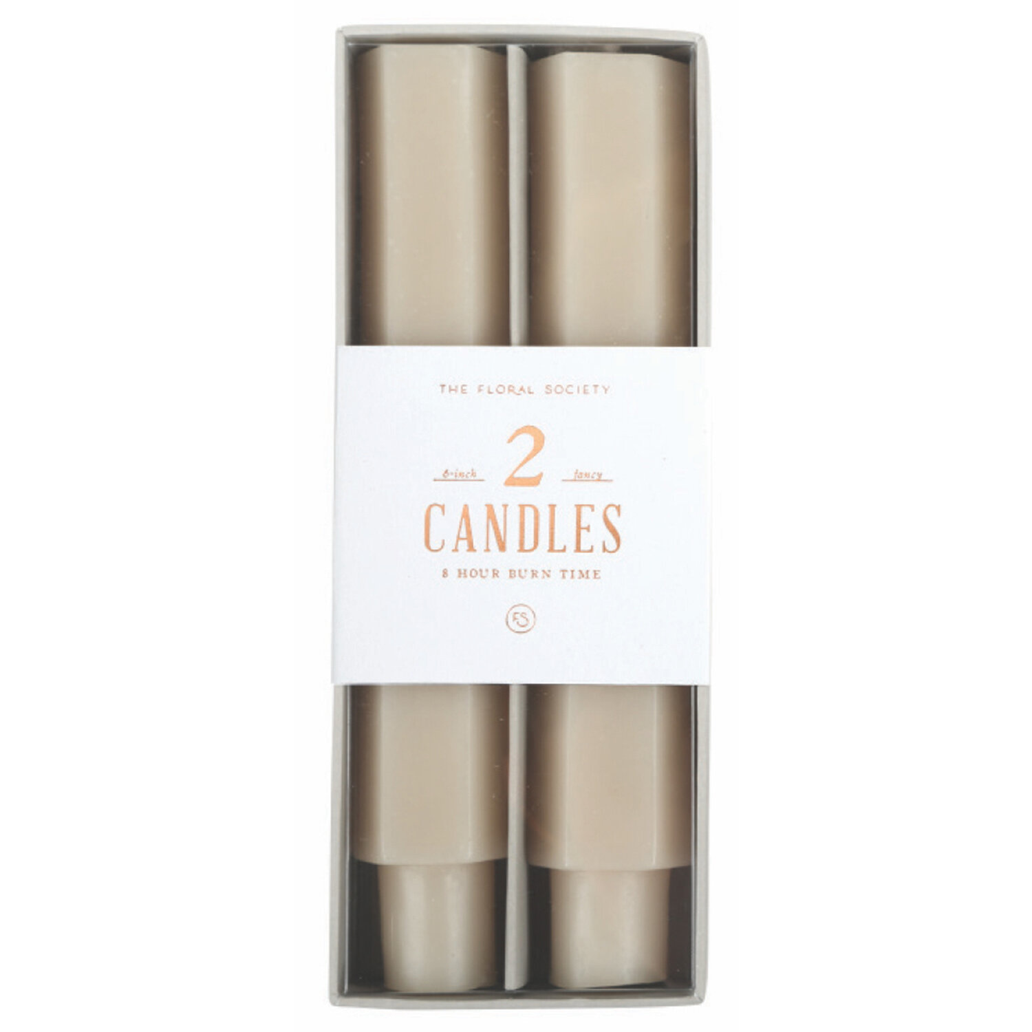 """The Floral Society Fancy Taper Candles 6"""" Parchment"""