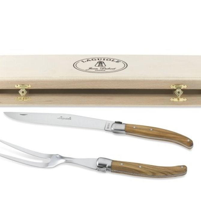 The French Farm Olive Wood Carving Set Laguiole