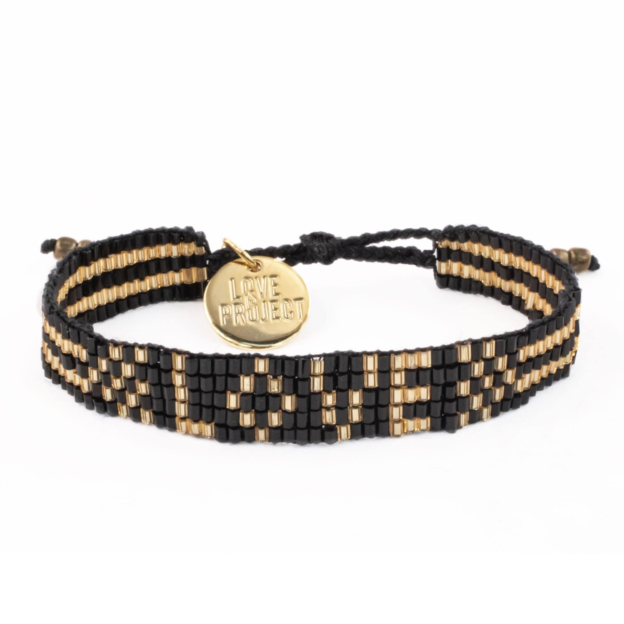 Love Project Seed Bead LOVE Bracelet - Black