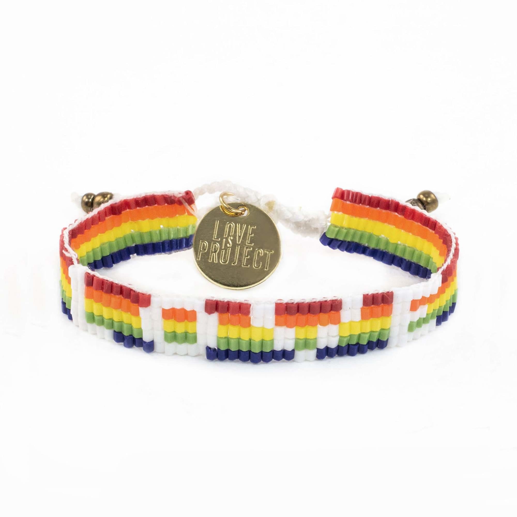 Love Project Seed Bead LOVE Bracelet - Rainbow