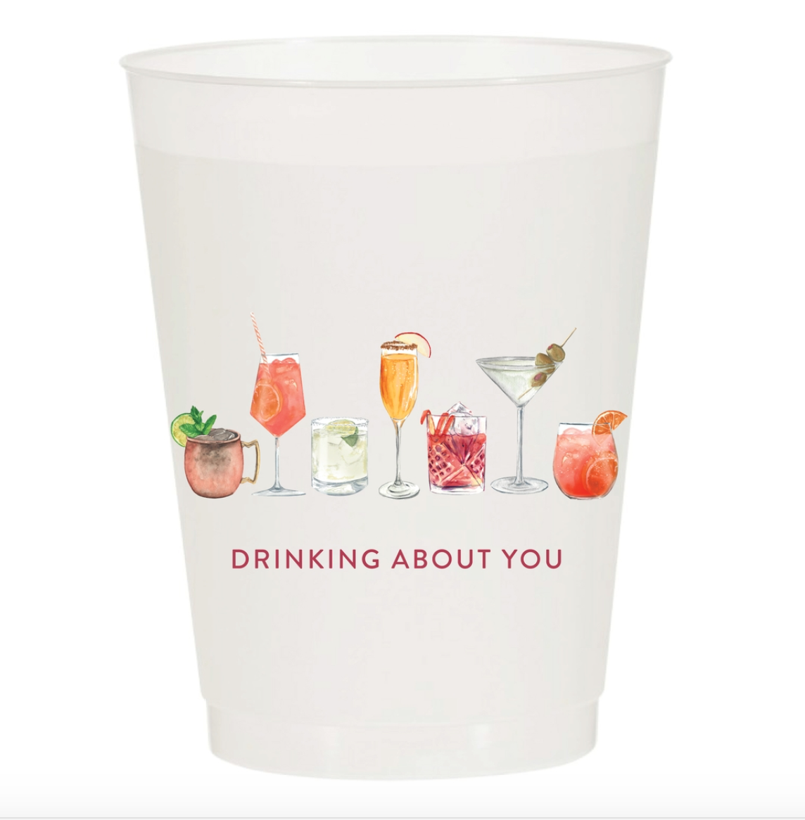 Sip Sip Hooray Drinking About You Watercolor Reusable Cups - Set of 10