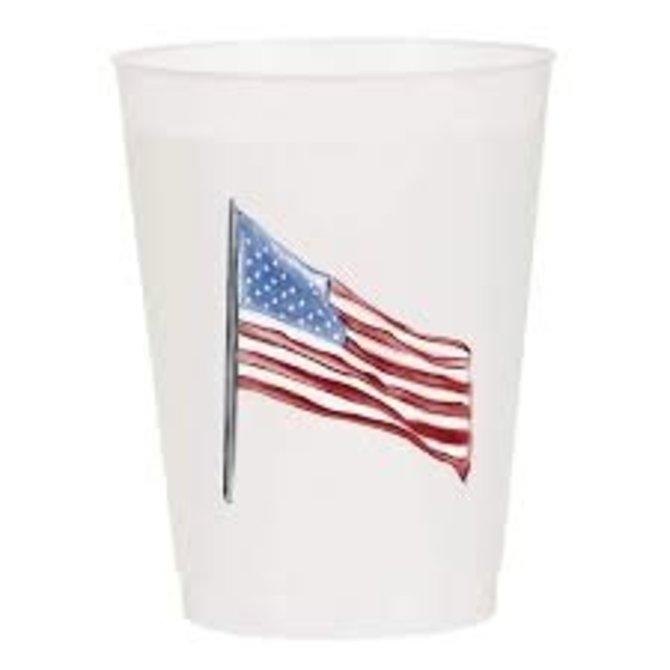 Sip Sip Hooray American Flag Watercolor Reusable Cups - Set of 10