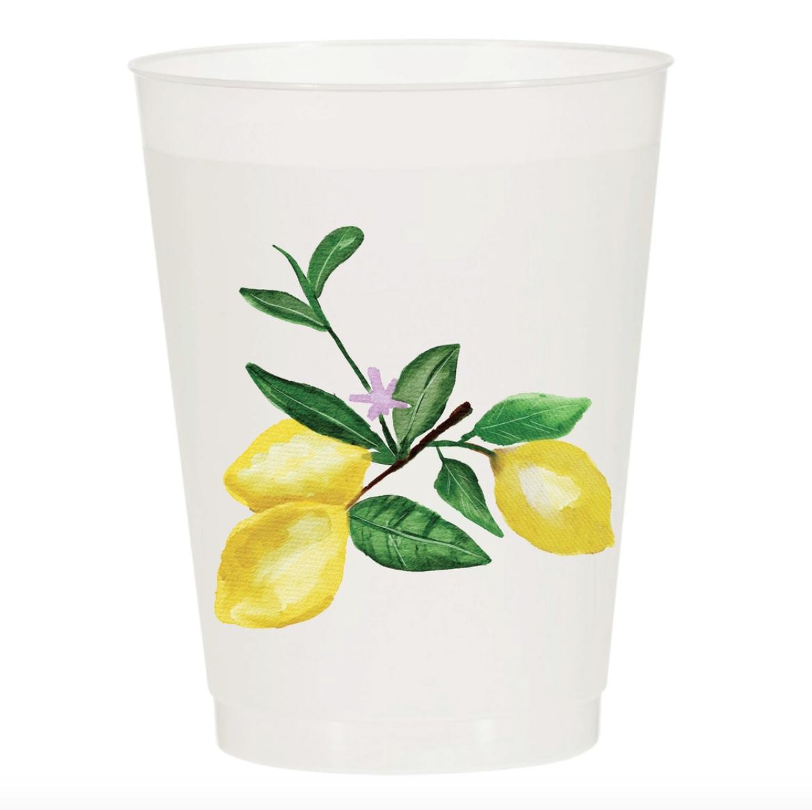 Sip Sip Hooray Lemons Watercolor Reusable Cups Set of 10