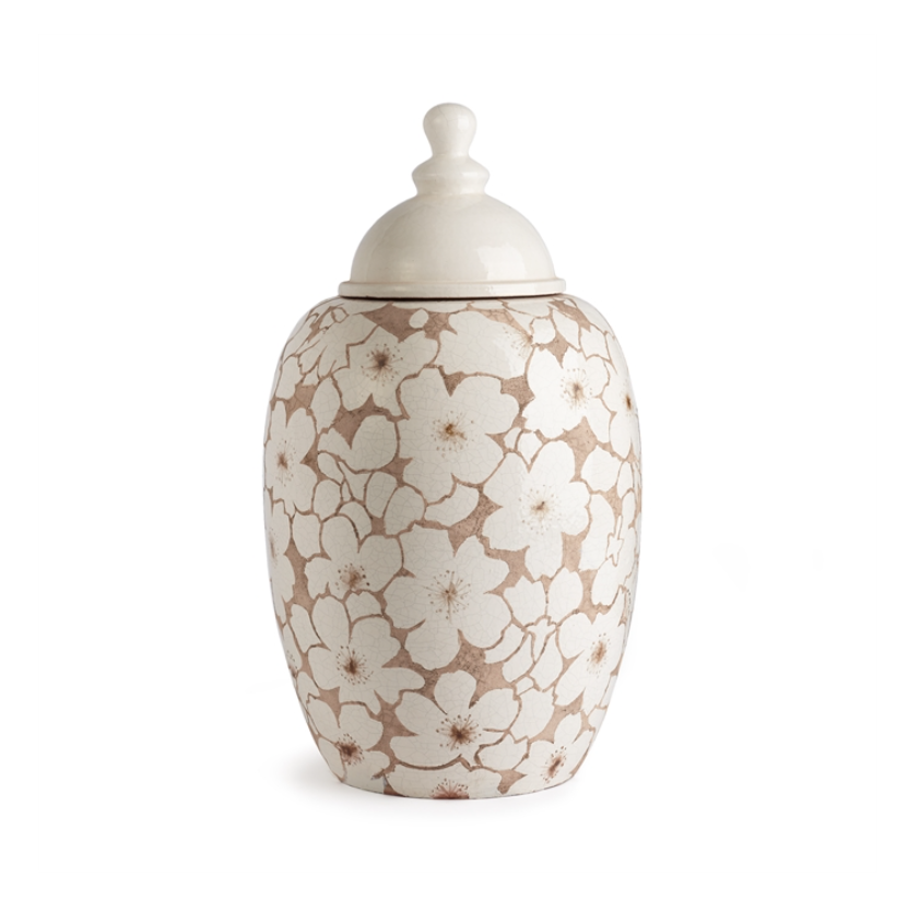Napa Home and Garden Cherry Blossom Lidded Urn 17.5