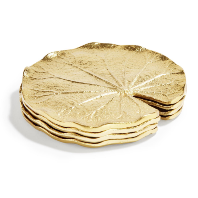 Tozai Set of 4 Golden Lily Leaf Coaster