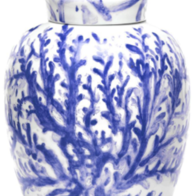 Two's Company Corals Ginger Jar Blue