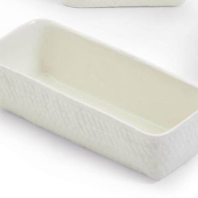 Two's Company Basketweave Tidbit Dish - Rectangle