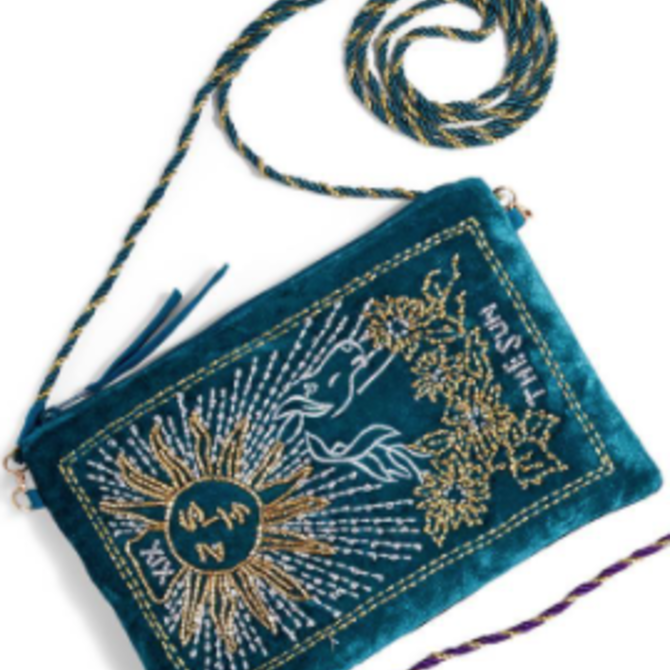 Two's Company Tarot Embroidered Bag w/ Strap Green
