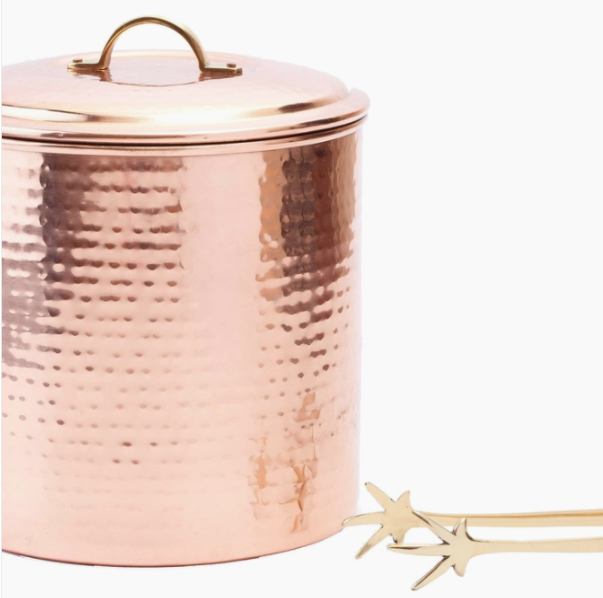 Old Dutch International Hammered Copper Ice Bucket with Tongs
