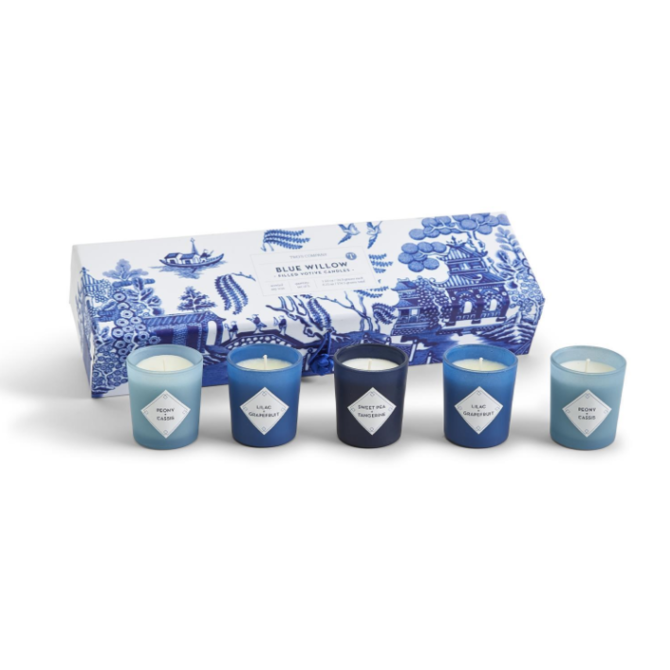 Two's Company Blue Willow Set of 5 Scented Candles in Gift Box Includes 3 Scents
