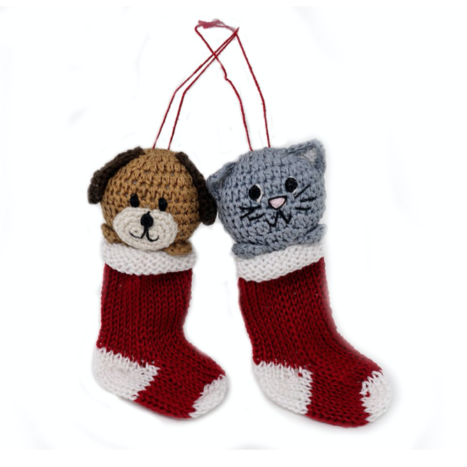 Melange Crochet Puppy & Kitten Ornaments