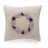 """Melange 10"""" Grey Wreath with Berries Pillow, Ecru"""