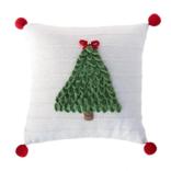 "Melange 12"" Christmas Tree Pillow, Ecru"