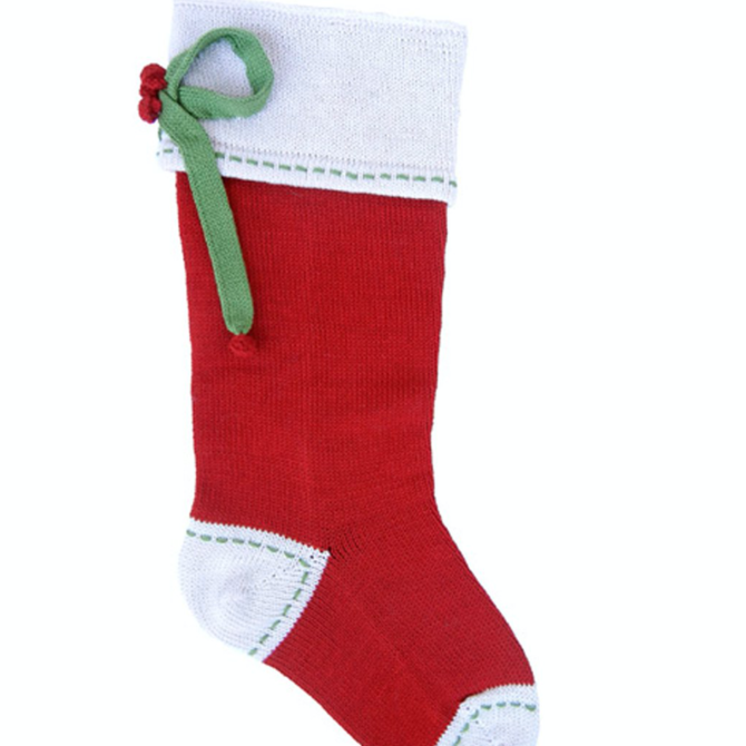 Melange Bow Stocking Red