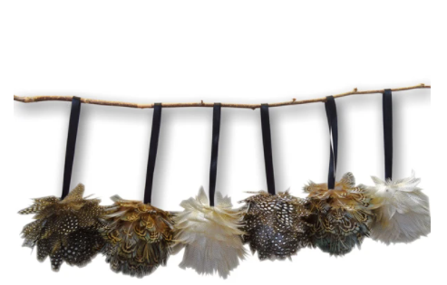 Wingfield Digby Set of 6 Real Feather Ball Decorations