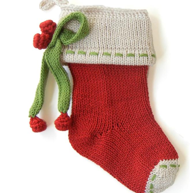 Melange Bow Mini Stocking Red