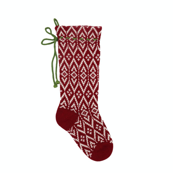 Melange Red Patterned Stocking
